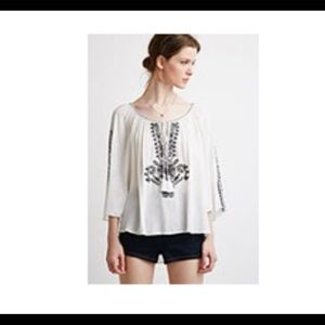forever21 Embroidered crepe peasant top